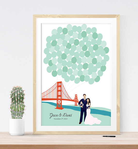 San Francisco Golden Gate Bridge Wedding Guest Book | 21 Unique Themed Guest Book Alternatives via https://emmalinebride.com/reception/themed-guest-book-alternatives/
