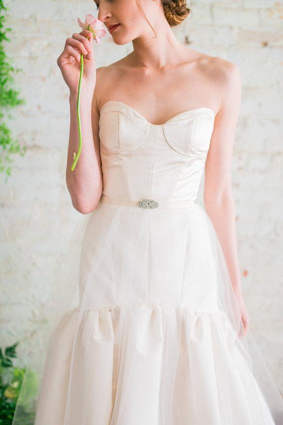 Fit-and-Flare Wedding Dress with Sweetheart Neckline | by Jillian Fellers | https://emmalinebride.com/bride/fit-and-flare-wedding-dress-sweetheart-neckline