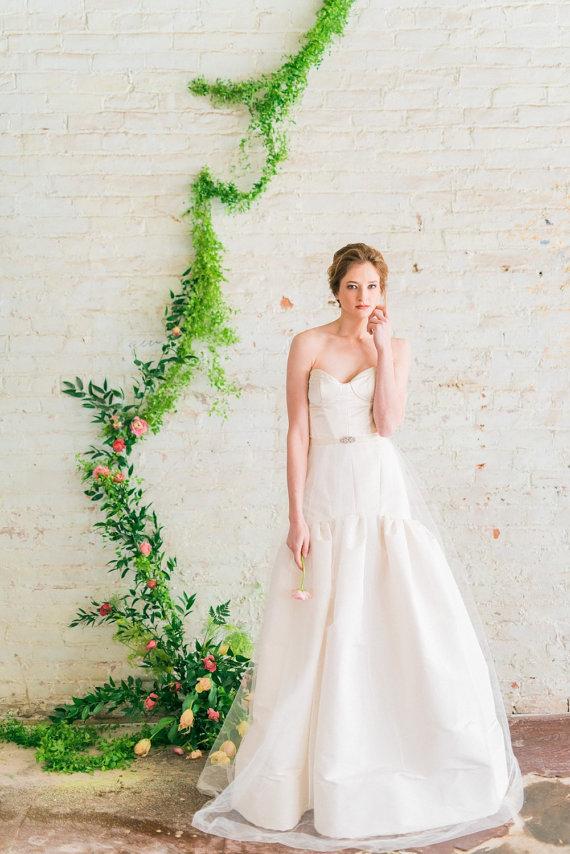 Fit-and-Flare Wedding Dress with Sweetheart Neckline | by Jillian Fellers | http://emmalinebride.com/bride/fit-and-flare-wedding-dress-sweetheart-neckline