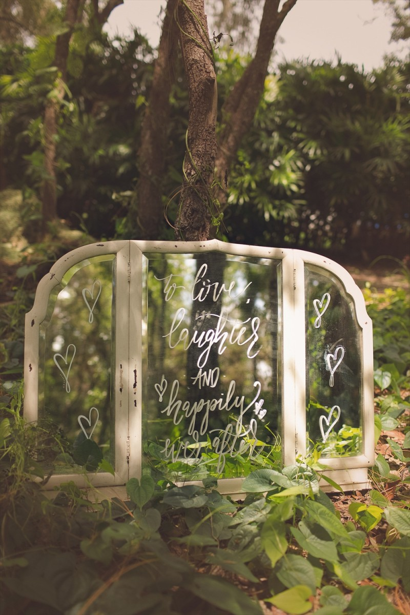 To Love Laughter and Happily Ever After Sign | Rustic Glam Bridal Shower | styled: adore amor event planning, photo: little blue bird photography | https://emmalinebride.com/shower/rustic-glam-bridal-shower/