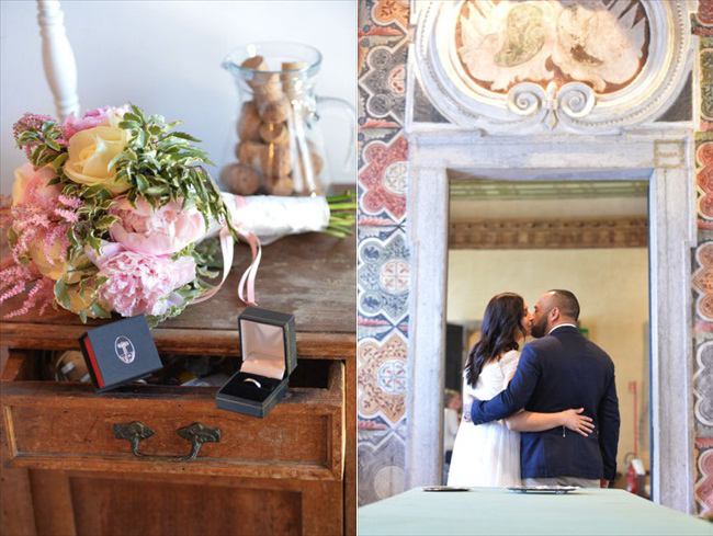 wedding rings, bouquet, bride and groom kiss | Planner: Venice Events | via https://emmalinebride.com/real-weddings/spring-wedding-in-italy-andre-shona/
