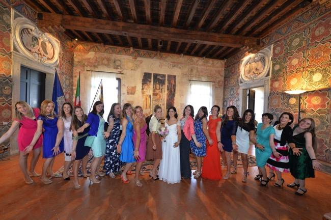 spring wedding in Italy bride and wedding guests | Planner: Venice Events | via http://emmalinebride.com/real-weddings/spring-wedding-in-italy-andre-shona/