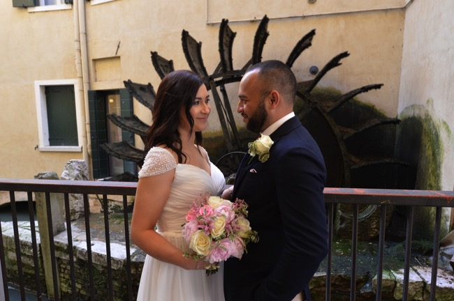 bride and groom at the Palazzo Rinaldi | Planner: Venice Events | via http://emmalinebride.com/real-weddings/spring-wedding-in-italy-andre-shona/