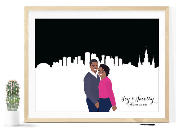 Wedding Guest Book Skyline Print | 21 Unique Themed Guest Book Alternatives via https://emmalinebride.com/reception/themed-guest-book-alternatives/