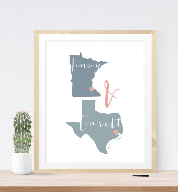 Wedding Two State Themed Wedding Guest Book Print | 21 Unique Themed Guest Book Alternatives via http://emmalinebride.com/reception/themed-guest-book-alternatives/