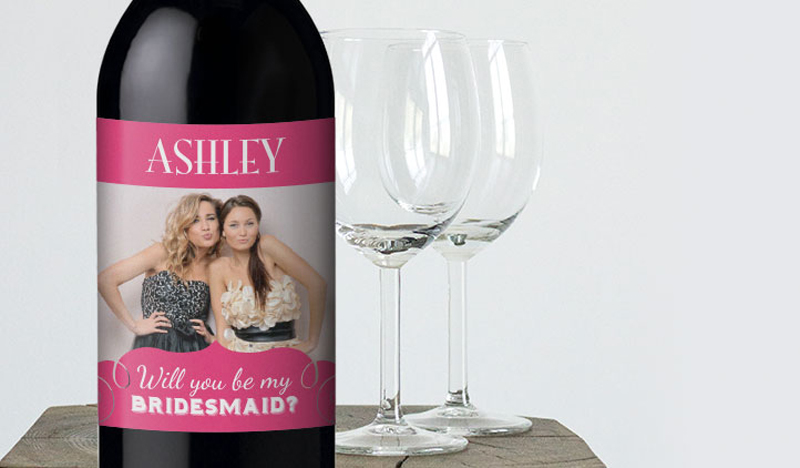 wedding wine labels can be used to ask bridesmaids to be in your wedding party! cute idea.
