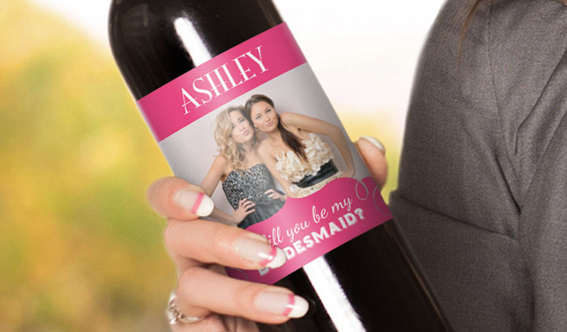 wedding wine labels can be used to ask bridesmaids to be in your wedding party!