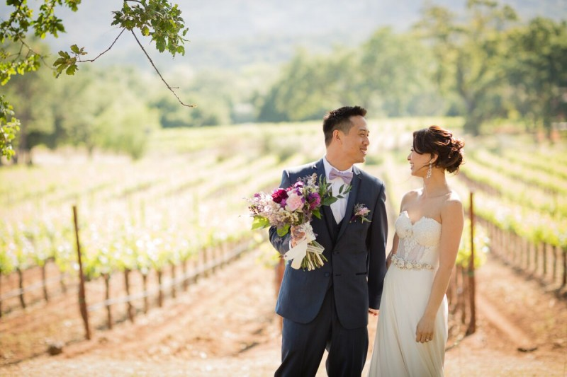 Winery Style Wedding Shoot - Happy Bride and Groom (photo: olivia smartt) https://emmalinebride.com/themes/winery-style-wedding/