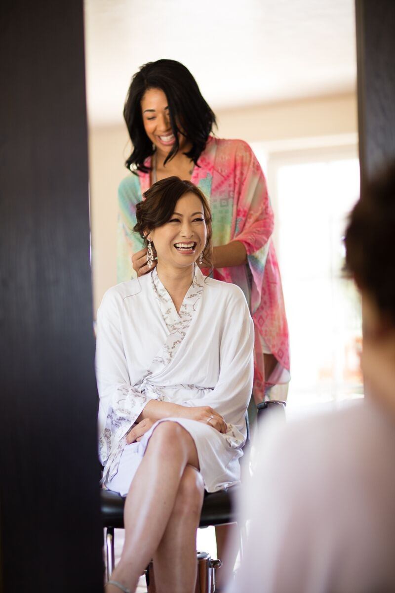 Winery Style Wedding Shoot - The Bride in Robe Getting Ready (photo: olivia smartt, robe: doie) https://emmalinebride.com/themes/winery-style-wedding/