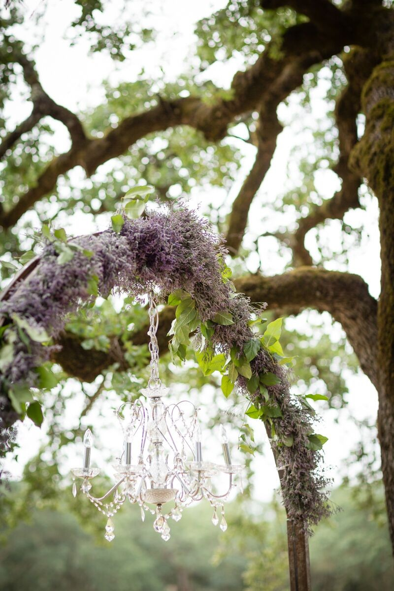 Winery Style Wedding Shoot - lavender wedding arch with chandelier (photo: olivia smartt) http://emmalinebride.com/themes/winery-style-wedding/