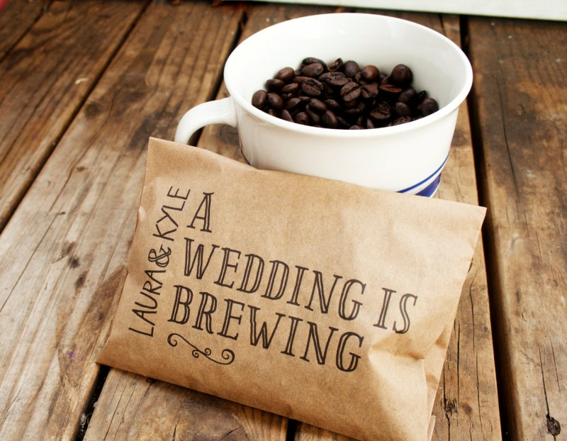 a wedding is brewing coffee favors