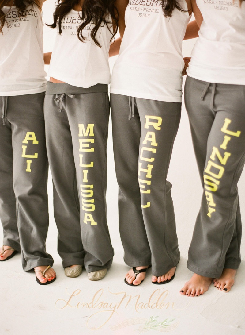 adorable name sweats for bridesmaids | by sister9designs | bridesmaid sweatpants gift weddings |