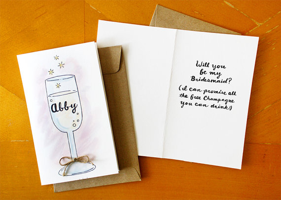 all the champagne you can drink be my bridesmaid card