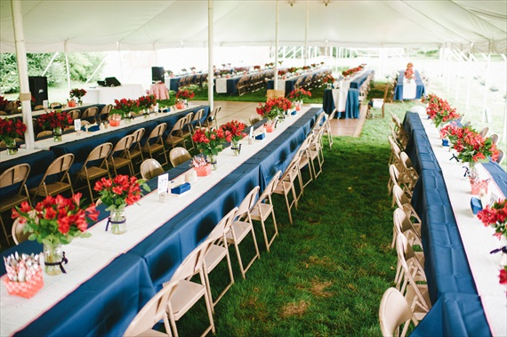 Americana Wedding: Libby + Ernie - reception decor (photo: michelle gardella)