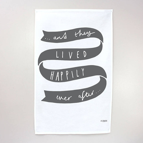 and they lived happily ever after tea towel - tea towels for wedding showers
