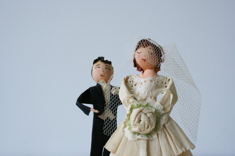 antique cake topper bride and groom