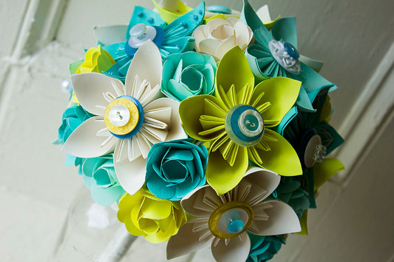 aqua and lime green paper wedding bouquet