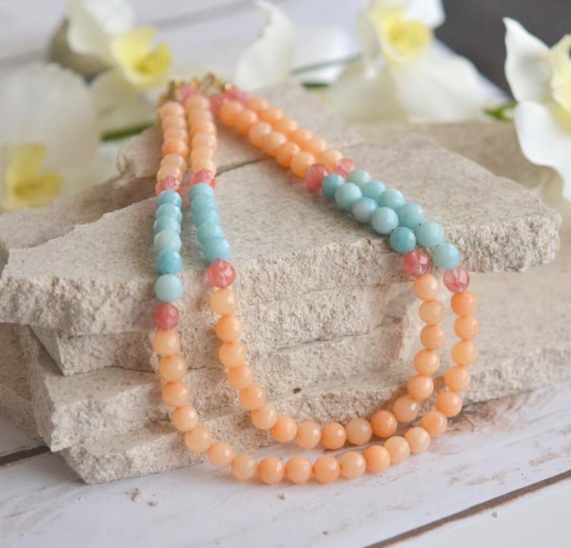 aqua and orange necklace | via Best Aquamarine Jewelry Finds on Etsy - https://emmalinebride.com/bride/best-aquamarine-jewelry/