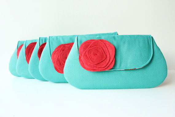 wedding clutch purses - aqua and red wedding clutch (by allisa jacobs)
