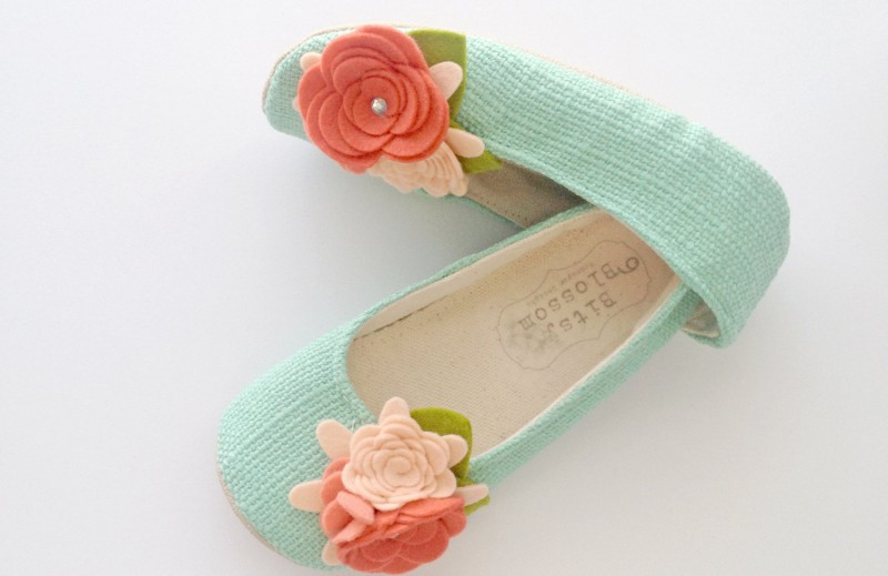 aqua flower girl shoes | handmade flower girl shoes via https://emmalinebride.com/spring/handmade-flower-girl-shoes/