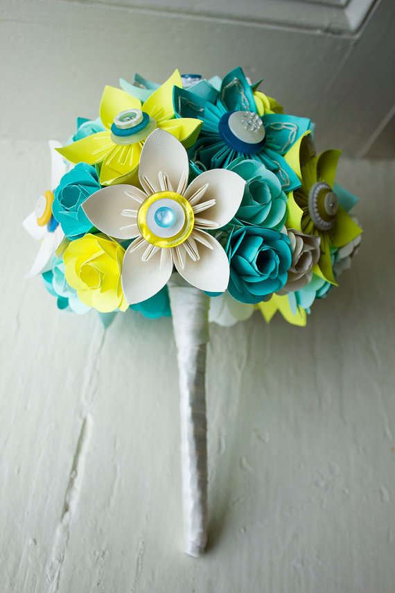 aqua lime green paper wedding flowers