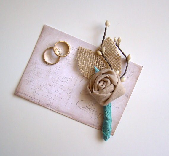 rustic boutonniere wrapped in aqua ribbon | 28 Best Rustic Wedding Boutonniere Ideas