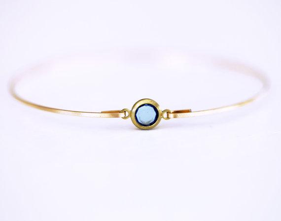 aquamarine bangle bracelet | via Best Aquamarine Jewelry Finds on Etsy - https://emmalinebride.com/bride/best-aquamarine-jewelry/