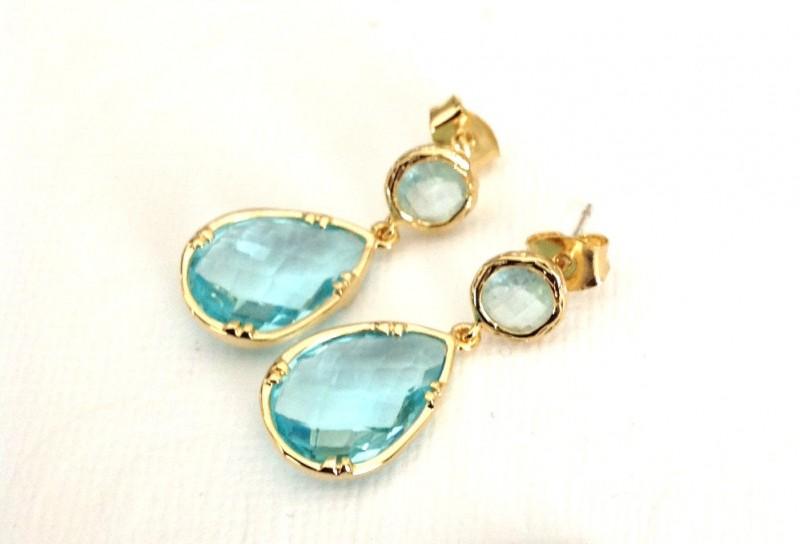Aqua and Gold Earrings | TRE PERLE | https://emmalinebride.com/bride/aqua-and-gold-earrings