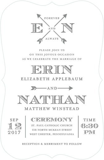 arrowed eternity wedding invitations