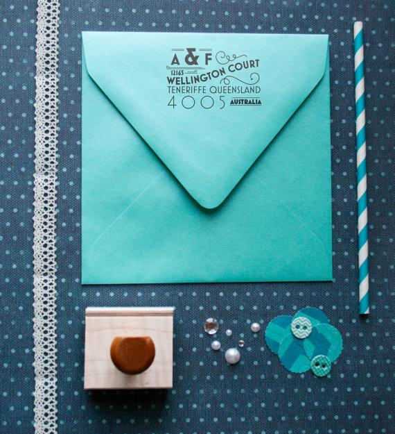 art deco return address stamp