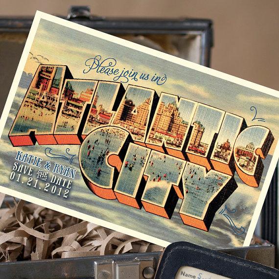 atlantic city postcard | vintage save the date postcards