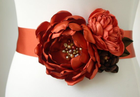 Flower Sash for Wedding Dress in Autumn Orange