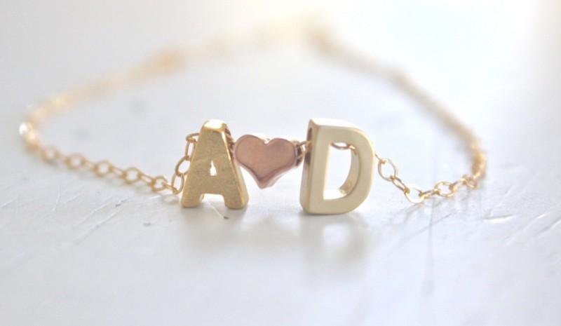initials and heart necklace by ava hope designs | via emmalinebride.com