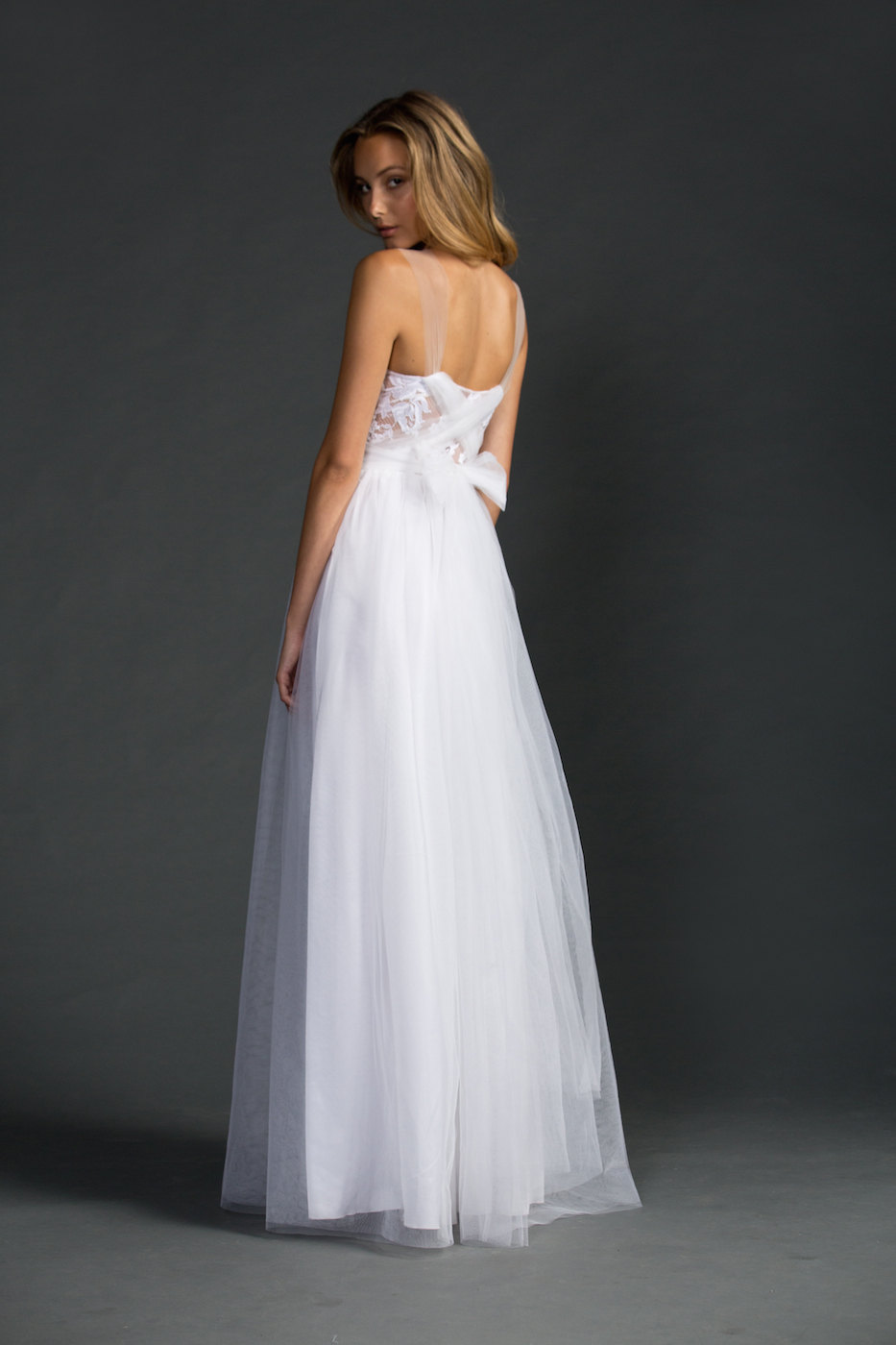 back view - dreamy sheer neckline wedding dress | via https://emmalinebride.com/bride/sheer-neckline-wedding-dress/