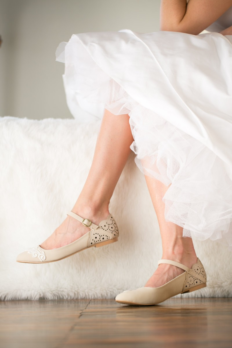 ballet flats with strap | via 31 Best Handmade Wedding Shoes http://emmalinebride.com/bride/handmade-wedding-shoes/