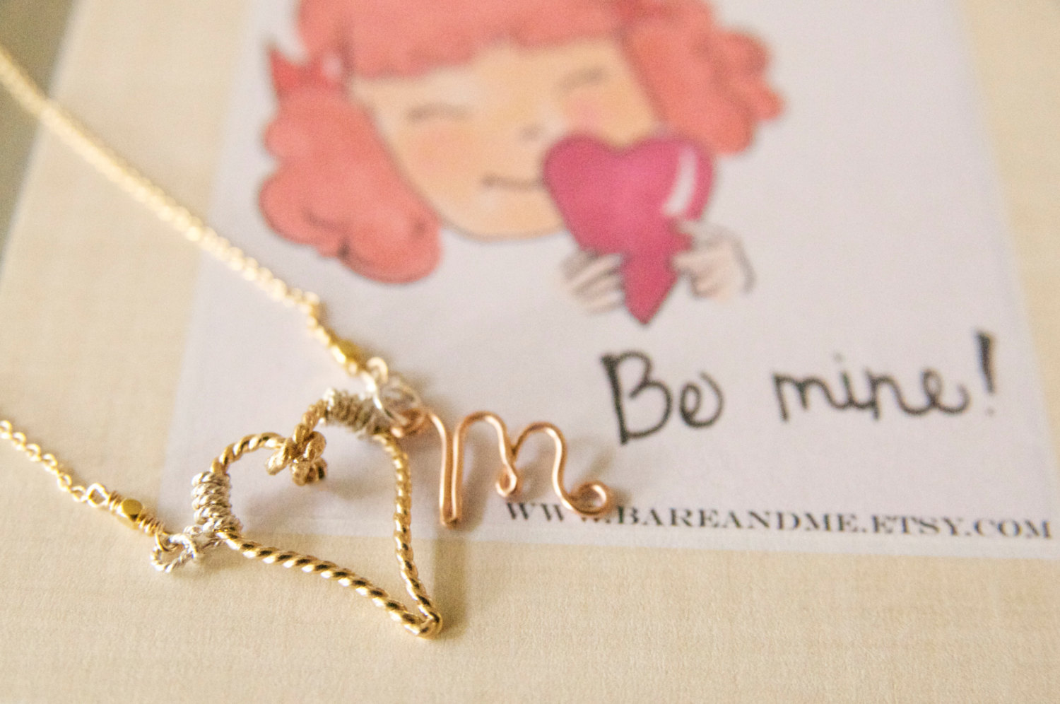 heart and initial necklace by bare and me | via emmalinebride.com