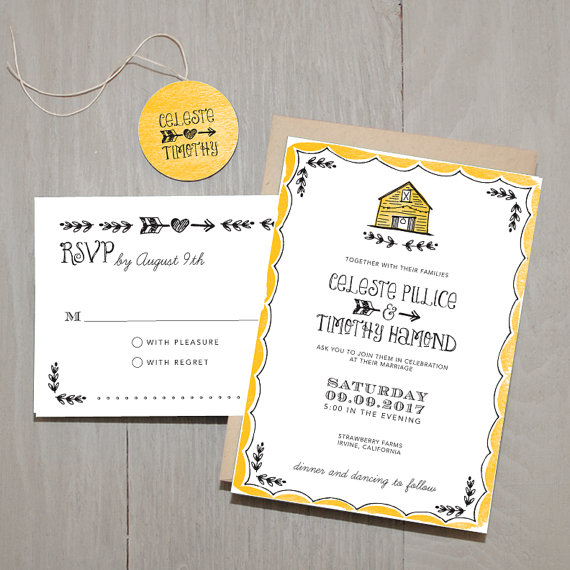 Barn Wedding Invitation by Smitten on Paper (via The Marketplace at EmmalineBride.com)