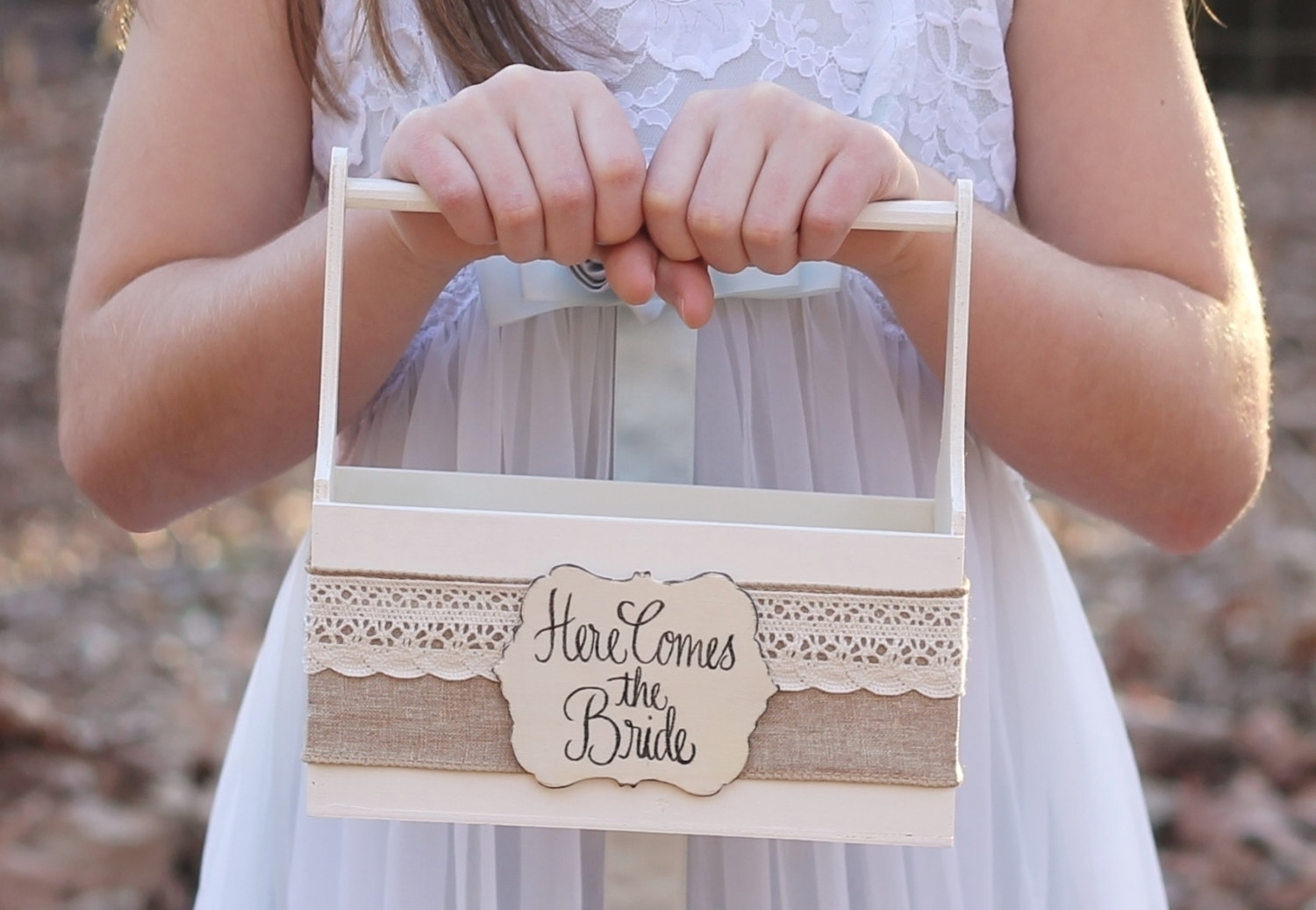basket with burlap flower girl | Rustic Flower Girl Baskets