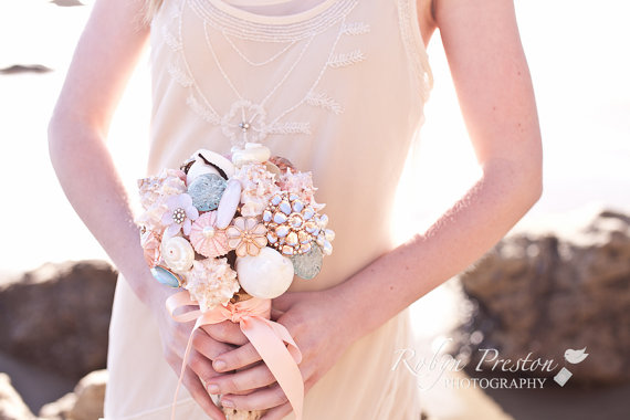 Beach Bridal Shower Ideas - beach shell bouquet by Harmony Creative Studio, photo by Robyn Preston Photography