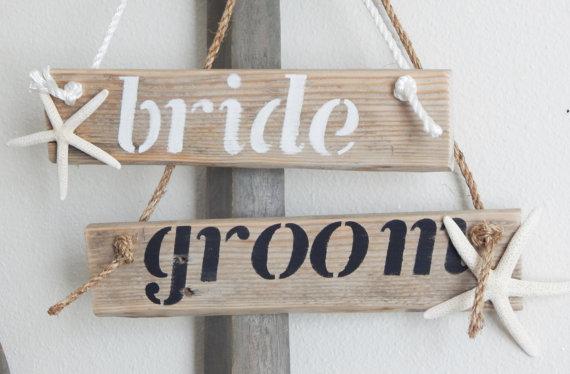 beach starfish bride and groom chair signs | via bride and groom chair signs https://emmalinebride.com/decor/bride-and-groom-chairs/