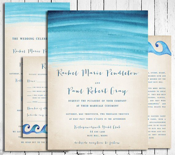 Beach Wedding Accessories: beach wedding invitations blue watercolor (by in or out media)