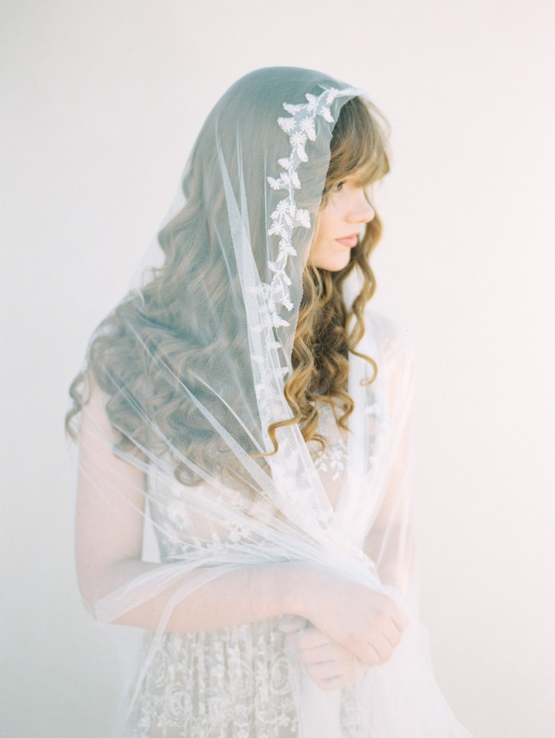 beaded chapel length mantilla veil | mantilla veils weddings | by SIBO Designs | Photo: Brumley & Wells