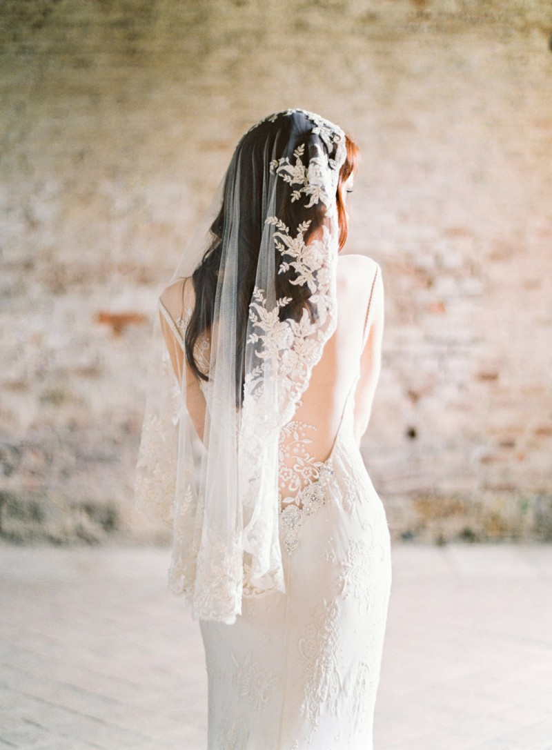 beaded mantilla wedding veil | mantilla veils weddings | by SIBO Designs | Photo: Brumley & Wells