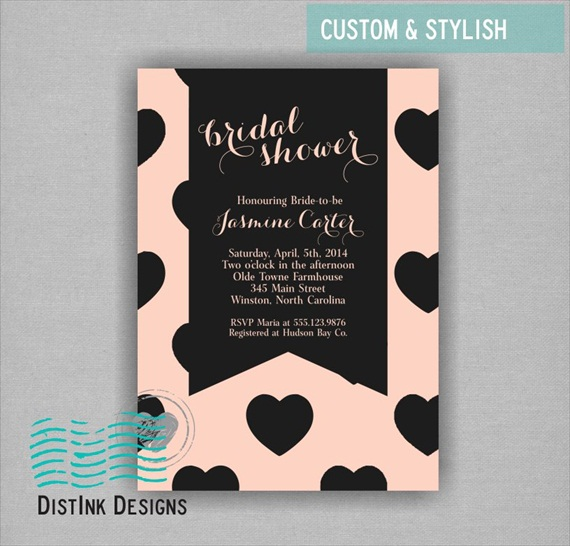 beige and black hearts modern bridal shower theme invitations