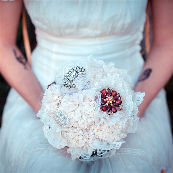 Fabric Flower Bouquet (by Autumn & Grace Bridal) - bejeweled brooch bouquet