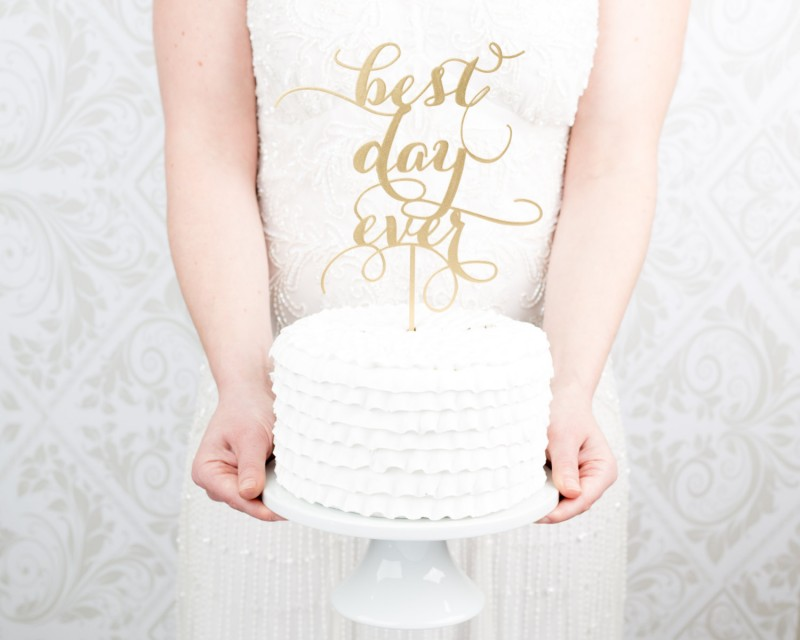 best day ever | cake toppers via http://emmalinebride.com/decor/statement-cake-toppers/