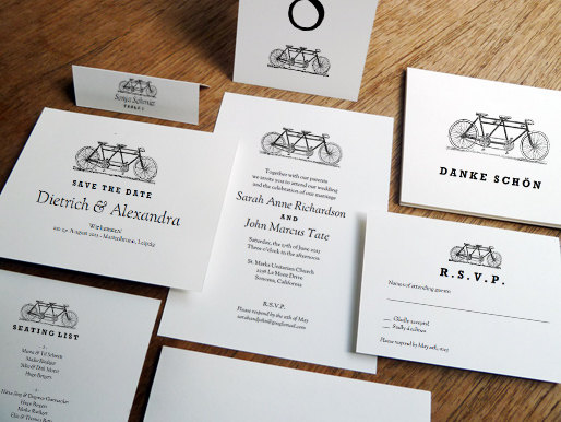 bicycles printable wedding invitations