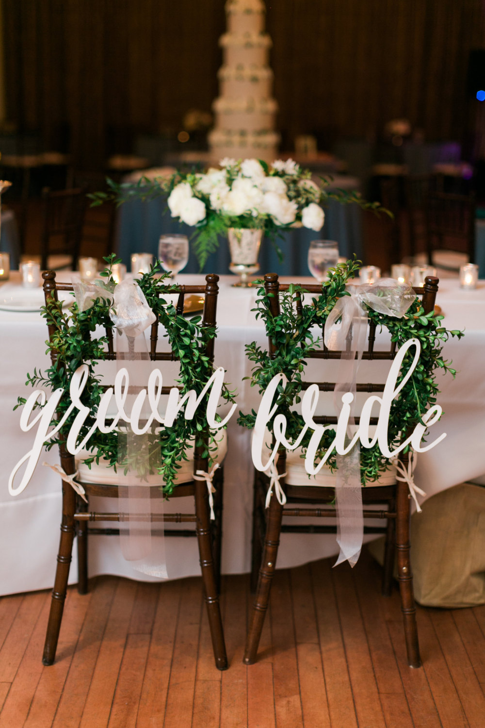 large script chair sign | via bride and groom chair signs https://emmalinebride.com/decor/bride-and-groom-chairs/