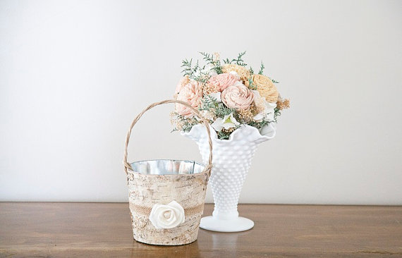 birch bark flower girl basket