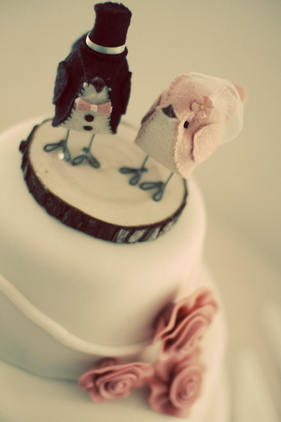 Bird Themed Wedding - Bird Cake Toppers by Cinnamon Birds